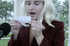 """Kelsie Ryback, playing Effie Trinket in the """"Hunger Games"""" swede"""